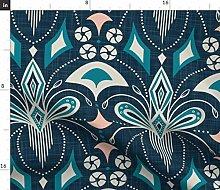 Spoonflower Fabric - Blue Extra Geometric Vintage