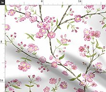 Spoonflower Fabric - Cherry Blossoms Blossom Japan