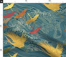 Spoonflower Fabric - Cranes Gold Japan Dragon