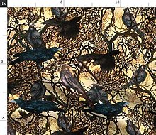 Spoonflower Fabric - Crows Branches Watercolor