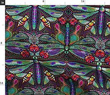 Spoonflower Fabric - Dragonfly Dotted Damask