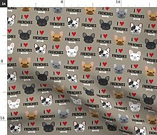 Spoonflower Fabric - Frenchie Dogs Love French