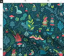 Spoonflower Fabric - Garden Out Funny Gnomes Cats
