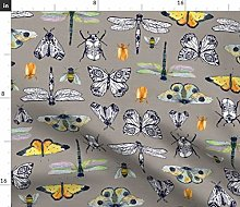 Spoonflower Fabric - Gray Insect Butterfly Moth