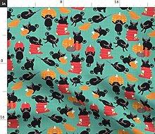 Spoonflower Fabric - Halloween Black Cats Mint