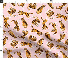 Spoonflower Fabric - Pink Zoo Tiger Cat Tropical