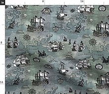 Spoonflower Fabric - Pirate Ships Map Grey Small