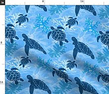 Spoonflower Fabric - Sea Turtle Dreams Tropical
