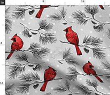 Spoonflower Fabric - Snow Cardinal Birds Woodland