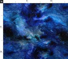 Spoonflower Fabric - Space, Galaxy, Blue, Black,