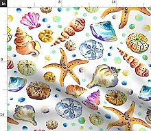 Spoonflower Fabric - Starfish & Shells Watercolour
