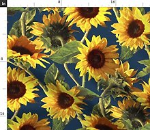 Spoonflower Fabric - Sunflower, Summer, Floral,