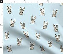 Spoonflower Fabric - Sweet Rabbit Blue Bunny