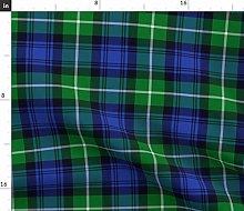 Spoonflower Fabric - Tartan Green Blue Plaid
