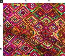 Spoonflower Fabric - Trip Magenta Rose Print