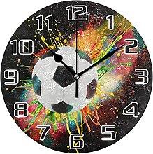Sport Ball Football Wall Clock Silent Non Ticking,