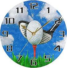 Sport Golf Grass Sky Wall Clock Silent Non