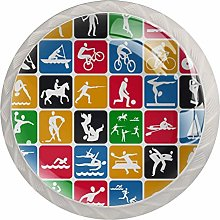 Sport Icons Drawer Knobs Pulls Cabinet Handle for