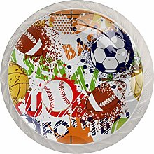 Sport Pattern with Balls Set of 4 Drawer Knobs