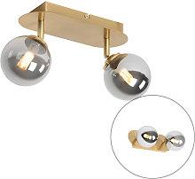 Spot gold 2-light adjustable with smoke glass -