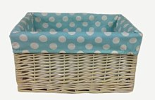 Spotty Lined Open Storage Wicker Basket Brambly