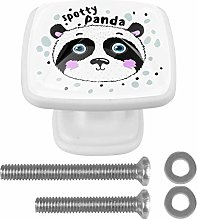 Spotty Panda Animal 4PCS Drawer Knobs Square