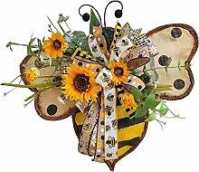 Spring Bee Sunflower Wreath, Front Door Wreath