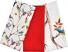 Spring Birds Tea Towels 100% Cotton Decorative