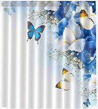 Spring Blue Butterfly Flower Shower Curtain Liner