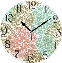 Spring Dahlia Wall Clock Silent Non Ticking Colors