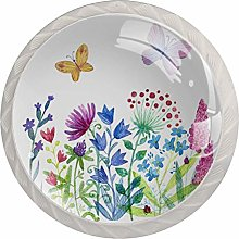 Spring Flowers and Butterflies 4pcs Glass Cupboard
