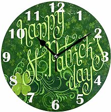 Spring Green Plaid Shamrocks Wall Clock Silent Non