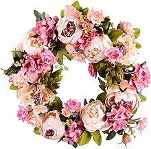 Spring Peony Camellia Wreath, Front Door Beauty