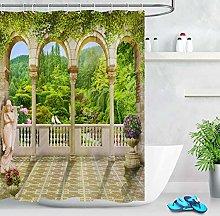 Spring Terrace Scenery Bathroom Waterproof Fabric