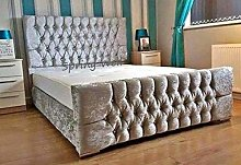 Spring Well, Alton Bed Frame with diamond Buttons