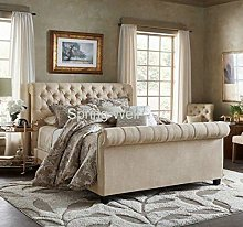 Spring Well, Sleigh style bed frame in Linen turin
