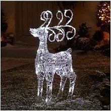 Spun Acrylic Light Up Standing Reindeer Outdoor Christmas Decoration