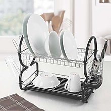 SQ Professional 2 Tier Dish Drainer Rack with Drip