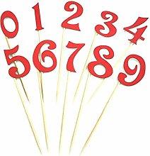 SQJU 10 Pcs/Set Number Pattern Birthday Cake