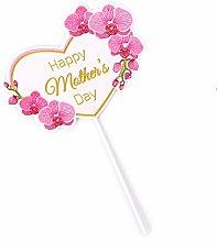SQJU 4PCS Cake Topper Pink Heart Flower Decoration