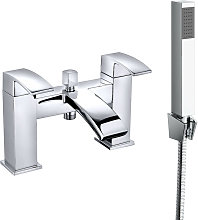 Square Bath Shower Mixer Tap Chrome and Hand Held
