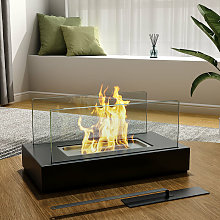 Square Bio Ethanol Tabletop Fireplace with Flame