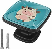 Square Cabinet Knob Cartoon Cow Handmade Unique