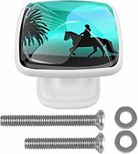 Square Cabinet Knob Coconut Tree Horse Shadow
