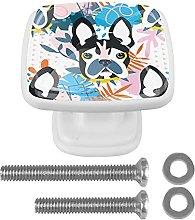 Square Cabinet Knobs Pulls Cartoon Dog Crystal