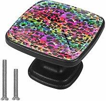 Square Cabinet Knobs Pulls Color Leopard Crystal