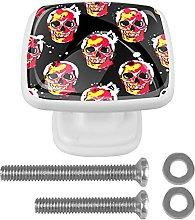 Square Cabinet Knobs Pulls Color Skulls Crystal