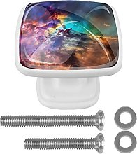 Square Cabinet Knobs Pulls Colorful Space Crystal