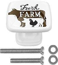 Square Cabinet Knobs Pulls Cows Crystal Glass
