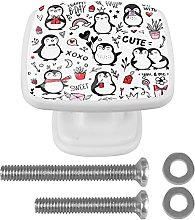 Square Cabinet Knobs Pulls Cute Penguin Crystal